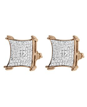 13mm Pave Diamond Kite Earrings in 10k Rose Gold (0.75 ct)