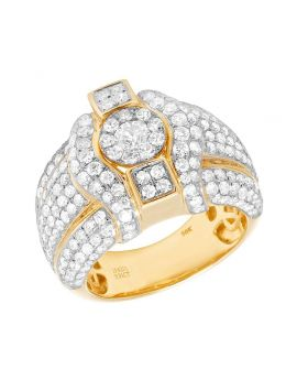 Men's 10K Yellow Gold Diamond 3D Cluster Iced  Pinky Ring 3.91 CT 17MM