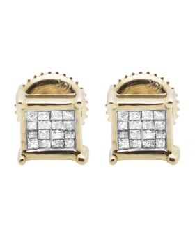 10K Yellow Gold Real Princess Diamond Earring Studs 0.33ct 6MM