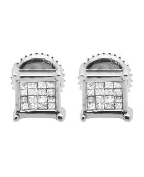 10K White Gold Real Princess Diamond Earring Studs 0.33ct 6MM