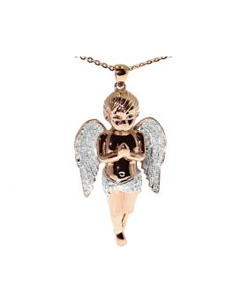Diamond Angel Cherub Pendant in Rose Silver (0.75ct)