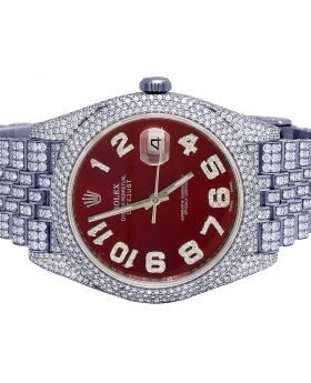 Rolex Datejust II 126300 41MM Red Dial Diamond Watch 18.75 Ct