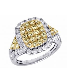 Ladies 14K White Gold Real Canary Diamond Square Engagement Ring 1 7/8 CT