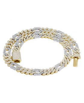 Two-Tone Gold Figaro Link Baguette Diamond Cuban Necklace 13MM 31.75CT