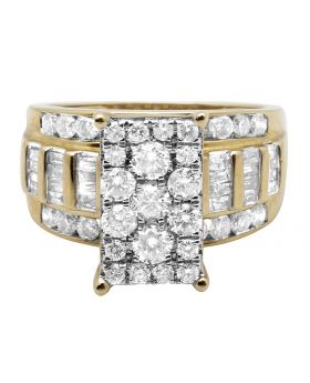 10K Yellow Gold Diamond Cluster Solitaire Ring with Baguette Accents 2.0CT