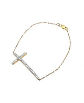 Ladies Yellow Gold Sideways Cross One Row Diamond Fashion Spiritual Bracelet (0.26ct)