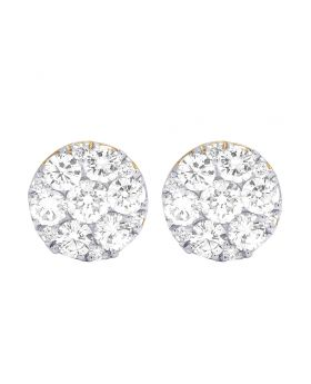 14K Yellow Gold Real Diamond Round Cluster Earrings 3.5 CT 11MM