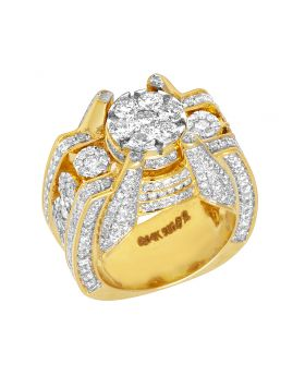 Mens 14K Yellow Gold 3D Claw Designer Real Diamond Ring 4.66CT