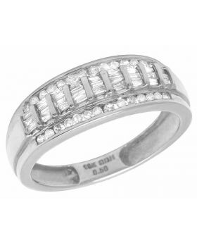 Men's 10K White Gold Real Baguette Diamond Wedding Band Ring 1/2 CT 8MM