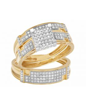 10K Yellow Gold Real Diamond Square Bridal Trio Ring Set 0.65ct