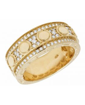 14K Yellow Gold Real Diamond Eternity Love Wedding Band Ring 1.23CT 9MM