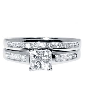 White Gold Bridal Ring Set with Princess and Round Diamonds (1.0 ct)