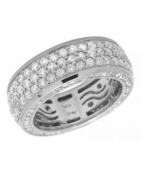 14K White Gold Genuine Diamond 3D Eternity Ring Band 3 ct