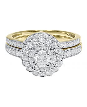 14k Yellow Gold Ladies Solitaire Diamond Flower Bridal Ring Set (1.0 ct)
