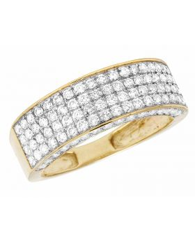 10K Yellow Gold Unisex 3D 4 Row Real Diamond Wedding Band Ring