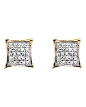 10K Yellow Gold Diamond Micro Pave Square Kite Fashion Stud Earrings .15Ct