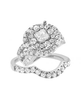 10K White Gold Princess Diamond Cluster Solitaire Ring Set with Baguette Accents 3.0CT