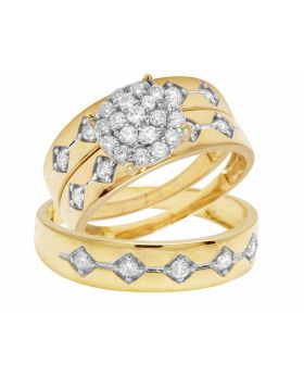 10K Yellow Gold Real Diamond Round Cluster Bridal Trio Ring Set 1.0CT
