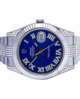 Rolex Datejust II 116300 41MM Blue Dial Diamond Watch 6.0 Ct