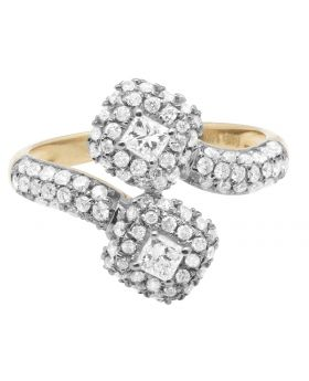 14K Yellow Gold 2 Stone Cluster 3 Row Diamond Ring 1.0ct