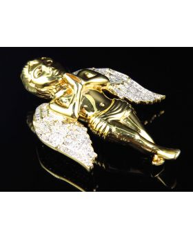 2 Inch Angel Pendant in Yellow Silver (0.85 ct)