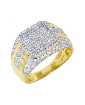 Mens Yellow Gold Square Design Stepped Shank Pinky Ring 0.7 CT