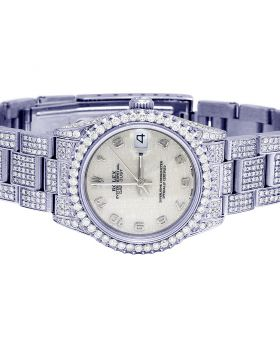 Ladies Rolex Midsize 67480 Iced Out Diamond Watch 8.5 Ct