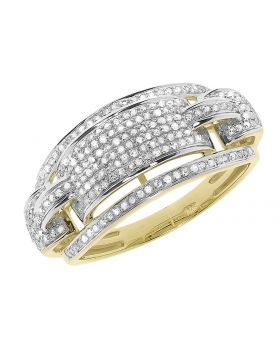 Mens 11mm Scallop Design Diamond Band in Yellow Gold (0.65 ct)