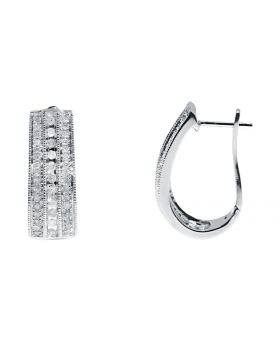 20mm Diamond Oval Hoops in Sterling Silver (0.40 ct)