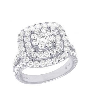 14K White Gold Diamond Square Halo Cluster Engagement Ring 2.30 CT 15MM
