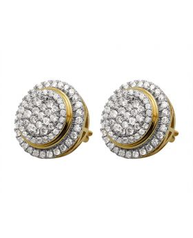 14K Yellow Gold Pave Real Diamond Stud Earrings 1.75ct