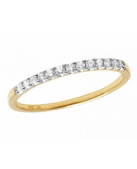 Ladies 14K Yellow Gold Real Diamond Band Enhancer Ring 0.16ct 2MM