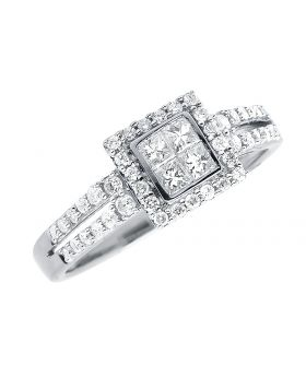 Princess Diamond Round Frame Engagement Ring in White Gold (0.55 ct)