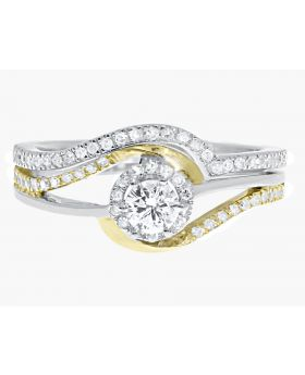 10k Gold Two Tone Solitaire Round Diamond Bridal Engagement Ring Set (0.51 ct)