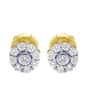 10K Yellow Gold Real Diamond Bezel Stud Earrings 0.50 CT 7MM