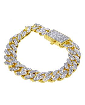 "14K Yellow Gold Real Diamond Cuban Bracelet 15mm 9"" 14 CT"