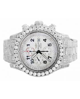 Custom Breitling A13370 Super Avenger Fully Iced S.Steel with Diamonds (31.5 Ct)