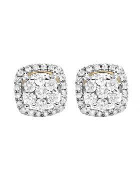 14K Yellow Gold Real Diamond square Cluster Stud Earring .50 ct
