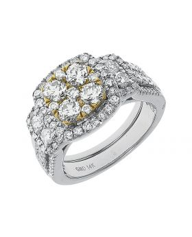 14k White Gold Cluster Diamond Bridal Ring Set (2.01 ct)