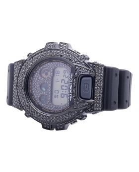 Casio G Shock 6900 White Simulated Diamond Watch 5.5 Ct in Black Gold Finish