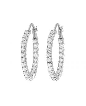 Ladies 10K White Gold Real Diamond Hoop Earring 2 ct