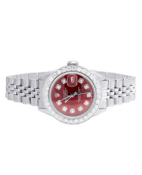 Ladies Rolex Datejust Oyster Red Dial Diamond Watch 2.0 Ct