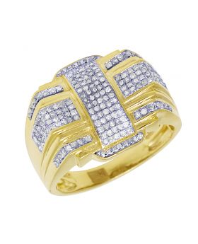 Mens Yellow Gold Overlapping Cross Pave Pinky Ring 0.7 CT