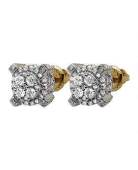 10K Yellow Gold 3D Round Real Diamond Stud Earrings 0.65ct