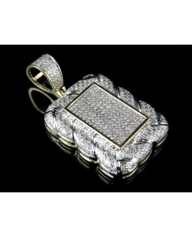 10K Yellow Gold Real Diamond Square Medallion Pendant 1.20ct 1.4""