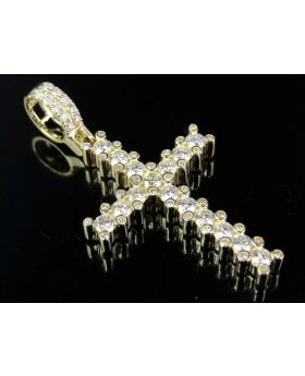 14K Yellow Gold One Row Prong Set Diamond Cross Pendant 1.75ct