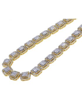 14K Yellow Gold 13MM Double Halo Baguette Diamond Necklace 23.75 CT 21""