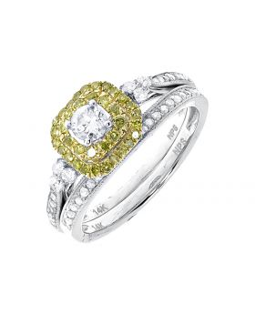 Round Solitaire Bridal Ring Set with Canary Diamond Halo (0.80 ct)