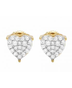 Ladies 10K Yellow Gold Real Diamond Heart Prong Stud Earrings 0.50ct 9MM