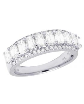 14K White Gold Diamond Emerald Solitaire Wedding Band Ring 1.65 Ct 6MM